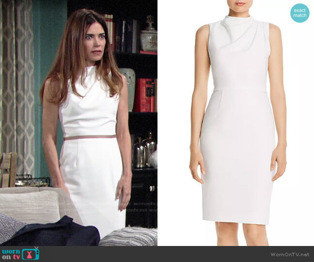 Black Halo Corrine Dress worn by Victoria Newman (Amelia Heinle) on The Young & the Restless
