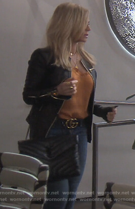 Tamera's black shoulder bag and belt on The Real Housewives of Orange County