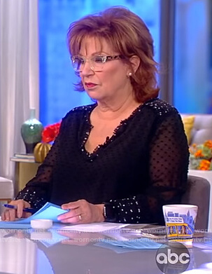 Joy's black mesh embellished blouse on The View