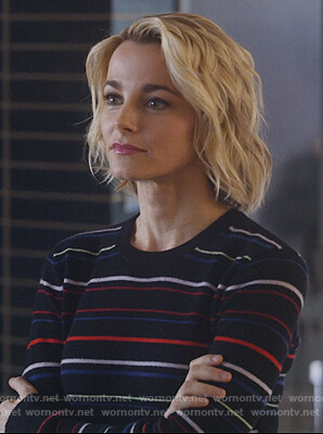 Lizzie's black striped sweater on Instinct