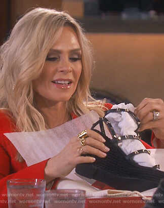 Tamera's black studded wedge sandals on The Real Housewives of Orange County
