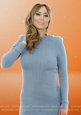 Kelly's blue button shoulder dress on The Real Housewives of Orange County