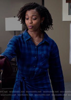 Ani's blue check tie shirtdress on 13 Reasons Why