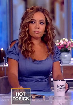 Sunny's blue ruched sleeve dress on The View
