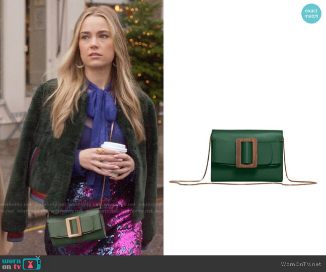 Boyy Buckle Leather Wallet-On-Chain worn by Ainsley Howard (Rebecca Rittenhouse) on Four Weddings & a Funeral