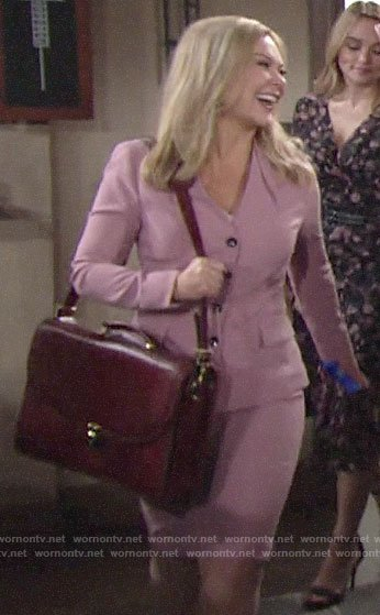 Britney's pink skirt suit on The Young and the Restless