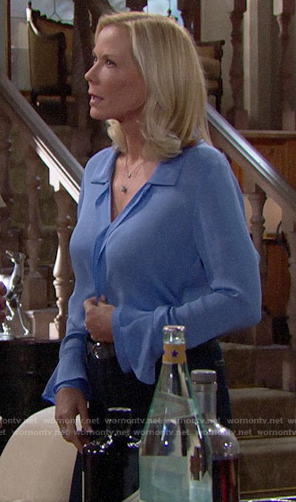 Brooke's blue blouse on The Bold and the Beautiful