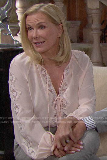 Brooke's blush lace blouse on The Bold and the Beautiful