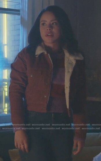 Mariana's brown shearling jacket on Good Trouble