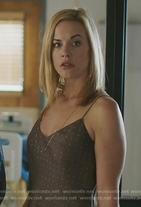 Kelly Anne's brown polka dot camisole on Queen of the South