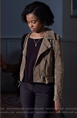 Ani's suede moto jacket on 13 Reasons Why