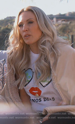 Braunwyn's white Beuenos Dias print tee on The Real Housewives of Orange County