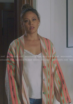 Camille's multicolored striped cardigan  on BH90210