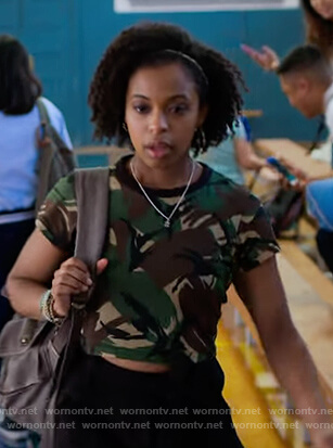 Ani's camo print tee on 13 Reasons Why