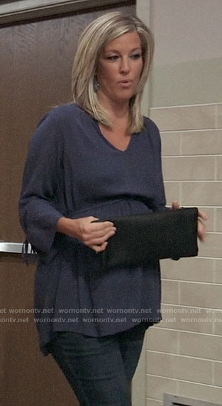 Carly's blue tie sleeve maternity top on General Hospital