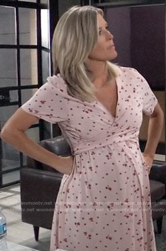 Carly's pink floral maternity dress on General Hospital