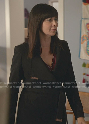 Cassie's black wrap coat on Good Witch