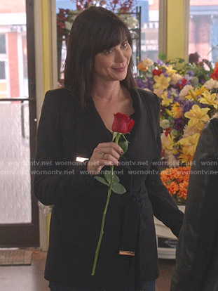 Cassie's black wrap coat on Good Witch