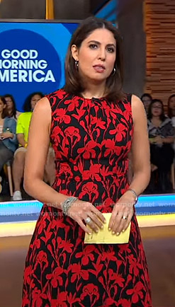 Cecilia's black and red floral dress on Good Morning America