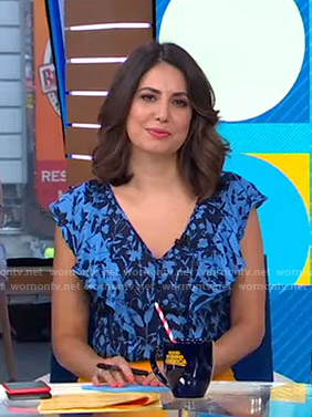 Cecilia's blue floral ruffled top on Good Morning America