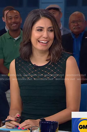 Cecilia's green sleeveless knit dress on Good Morning America