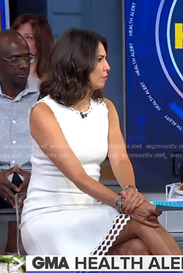 Cecilia's white laser-cut dress on Good Morning America