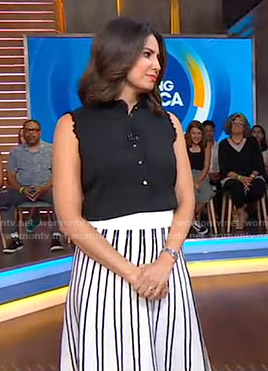 Cecilia's black top and striped skirt on Good Morning America