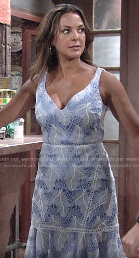 Celeste's blue embroidered dress on The Young and the Restless