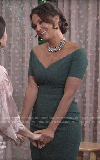 Celeste's green off-shoulder mother of the bride dress on The Young and the Restless