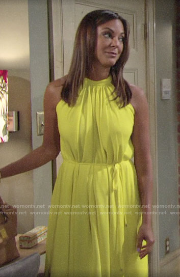 Celeste's yellow midi dress on The Young and the Restless