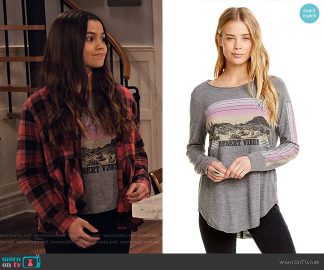 Plaid Peplum Shirt by BP worn by Nick (Siena Agudong) on No Good Nick