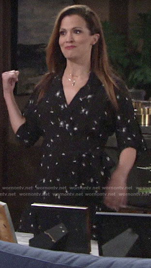 Chelsea's black dandelion print dress on The Young and the Restless