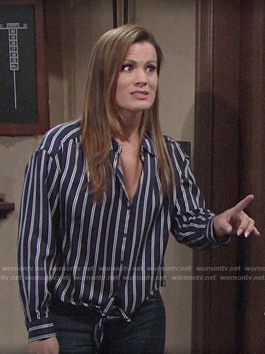 Chelsea's blue striped tie-front shirt on The Young and the Restless