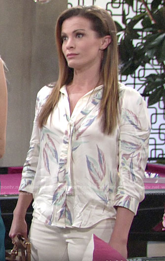 Chelsea's leaf print blouse on The Young and the Restless