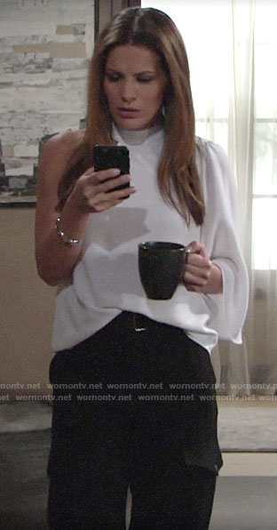 Chelsea's white one-shoulder blouse and black cargo pants on The Young and the Restless