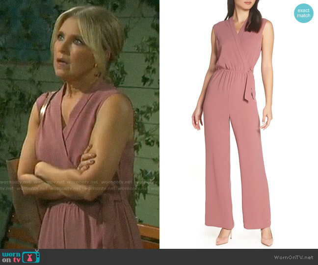 Chelsea28 Faux Wrap Jumpsuit worn by Jennifer Horton (Melissa Reeves) on Days of our Lives