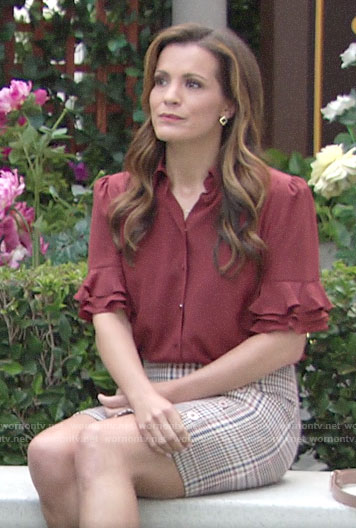 Chelsea's red ruffled sleeve top and plaid skirt on The Young and the Restless