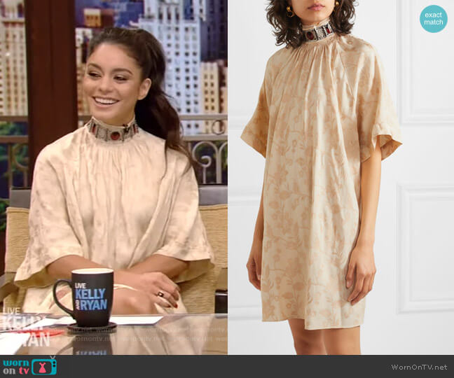 Embellished Jacquard Mini Dress by Chloe worn by Vanessa Hudgens on Live with Kelly and Ryan