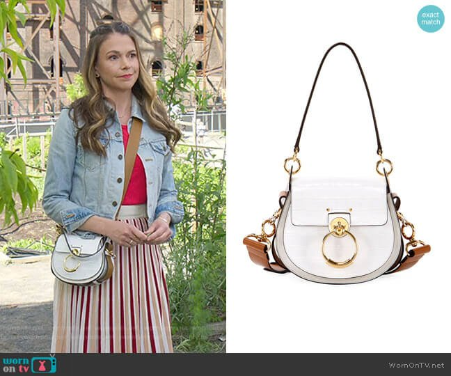 Tess Small Embossed Leather Shoulder Bag by Chloe worn by Liza Miller (Sutton Foster) on Younger
