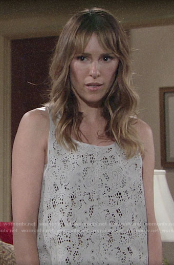 Chloe's lasercut eyelet tank top on The Young and the Restless