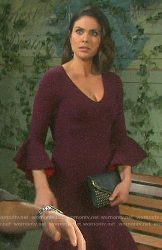 Chloe's purple bell-sleeve dress on Days of our Lives