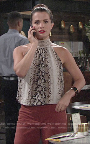 Chelsea's snake print top on The Young and the Restless