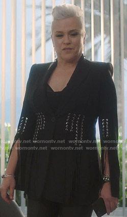 Christine's black lace-up blazer on BH90210