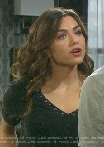 Ciara's black grommet trim tee on Days of our Lives