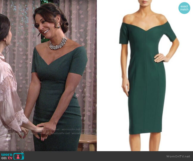 Cinq a Sept Birch Dress worn by Celeste Rosales (Eva LaRue) on The Young & the Restless