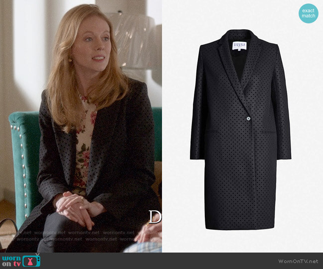 Claudie Pierlot Velvet polka-dot single-breasted wool-blend coat worn by Gemma (Zoe Boyle) on Four Weddings & a Funeral