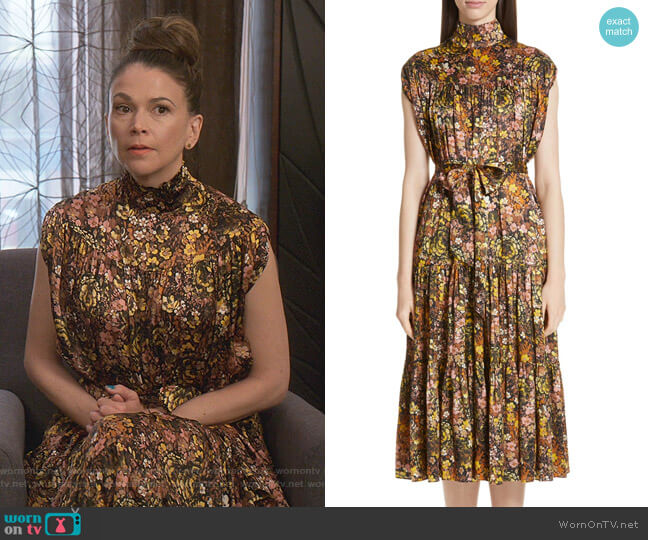 Floral High Neck Silk Dress by Co worn by Liza Miller (Sutton Foster) on Younger