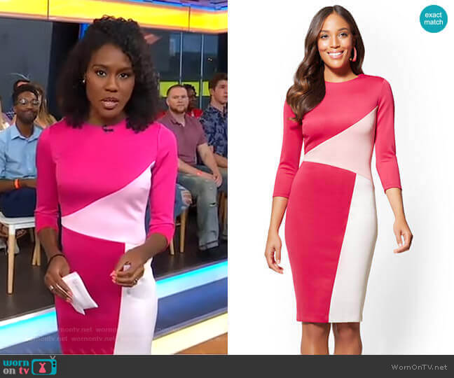 Colorblock Sheath Dress by New York & Company worn by Janai Norman  on Good Morning America