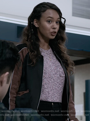 Jessica's colorblock leather bomber jacket on 13 Reasons Why