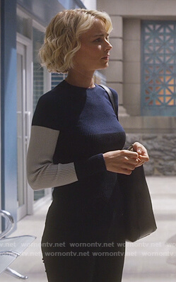 Lizzie's colorblocked ribbed sweater on Instinct
